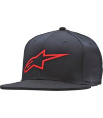 gorro ageless flat hat negro/rojo alpinestars