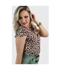 blusa manga curta camadas animal print