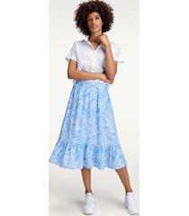 tommy hilfiger women's tropical print skirt palm floral light iris blue - 8