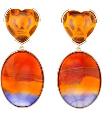 guita m 18kt yellow gold, stripe agate and citrine heart earrings -