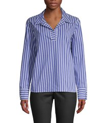 laundry by shelli segal women's striped poplin blouse - charcoal - size s