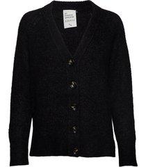 04 the knit cardigan stickad tröja cardigan svart denim hunter