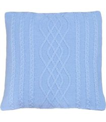 capa almofada tricot 45x45cm c/zãper sofa trico cod 1026 azul bebe - azul - feminino - dafiti