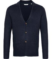 knitted sakk stickad tröja cardigan blå tom tailor