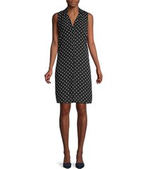 polka dot button-front sheath dress