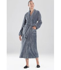 natori plush jacquard geo sleep & lounge bath wrap robe, women's, size m natori