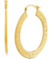 medium greek key flat hoop earrings in 14k gold