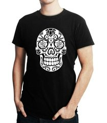 camiseta criativa urbana caveira mexicana
