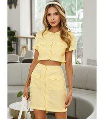 yoins conjunto de falda y top de manga corta con cuello redondo y diseño de botones de bolsillo amarillo