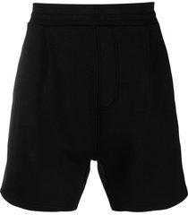 neil barrett drop crotch track shorts - black