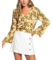 roxy juniors' like gold floral-print crop top