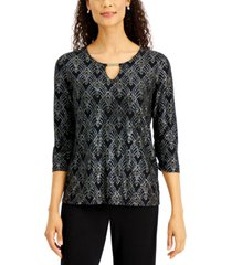 jm collection petite keyhole jacquard top, created for macy's