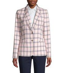 button-front plaid jacket