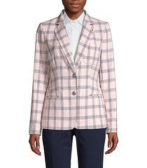 button-front plaid jacket