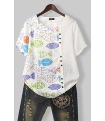 camicetta casual con scollo a o con stampa di pesci dei cartoni animati