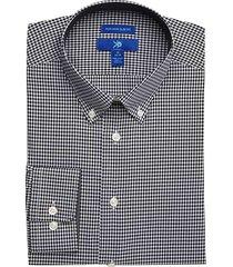 egara men's black check button-down slim fit non-iron dress shirt - size: 14 1/2 32/33