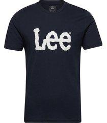 wobbly logo tee t-shirts short-sleeved blå lee jeans