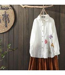 zanzea mujeres bordado tapas de la camisa étnicas abajo de los botones de la blusa de cuello de solapa del tamaño extra grande -blanco