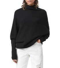 allsaints ridley funnel neck wool & cashmere sweater, size large in black at nordstrom