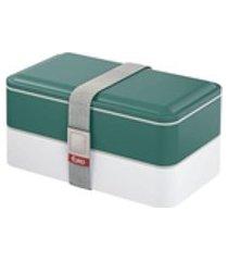 lancheira portátil fit c/ 2 compartimentos 3 talheres marmita p/microondas cor verde