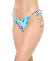 calcinha alto giro string folhagem azul