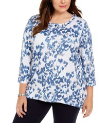 alfred dunner plus size sapphire skies animal shimmer printed top