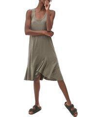women's michael stars jasmine asymmetric hem swing dress, size medium - green