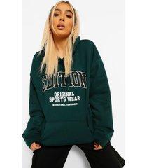 edition hoodie met tekst, bottle green