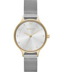 skagen women's anita two-tone stainless steel mesh bracelet watch 30mm