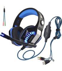 audífonos gamer, hot gm-2 3.5mm game gaming auriculares headband con micrófono luz led para xbox tablet pc portátil teléfonos móviles ps (negro azul)