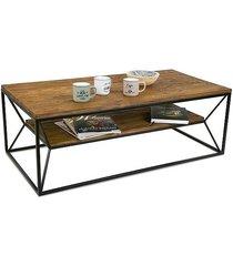stolik kawowy drewniany z półką modrzew 120 cm