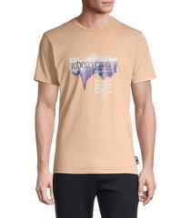roberto cavalli sport men's moire logo graphic stretch t-shirt - summer wheat - size s