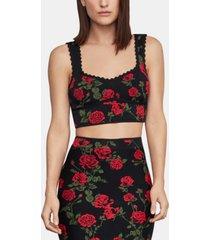 bcbgmaxazria floral-print sweater crop top