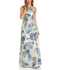 adrianna papell halter jacquard ball gown
