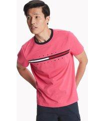 tommy hilfiger men's essential flag logo t-shirt raspberry rose - xl