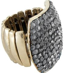 anel armazem rr bijoux quadrado cristais cravejados dourado