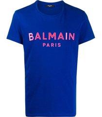 balmain silicone logo cotton t-shirt - blue