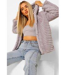 faux fur jas met capuchon, lilac