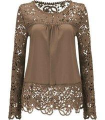 new sheer sleeve embroidery lace crochet chiffon shirt women coffee