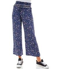kingston grey juniors' printed smocked wide-leg crop pants