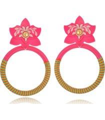 brinco le diamond orquidea com aro de fios de seda rosa - rosa - feminino - dafiti