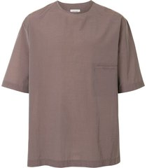 lemaire carbon oversized technical t-shirt - brown