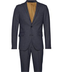 checked suit kostym blå lindbergh