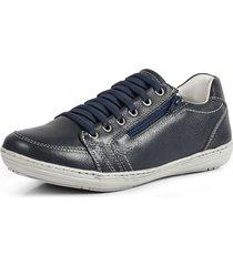sapatênis conforto calce fácil couro por dentro e por fora pierrô cor azul escuro