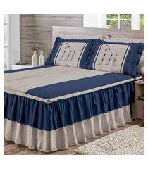 colcha matelada bordada cama casal padráo 05 peças azul marinho