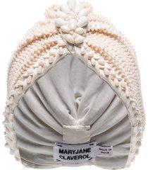 maryjane claverol guayana bead embellished turban - white