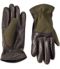 melton wool and leather gloves, large