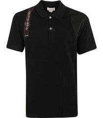 alexander mcqueen logo belt embellished polo shirt