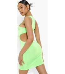 neon mini jurk met open rug, neon-green