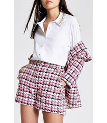 river island womens pink boucle check high rise shorts